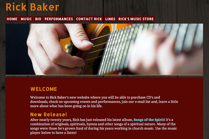 Rick Baker Music Website